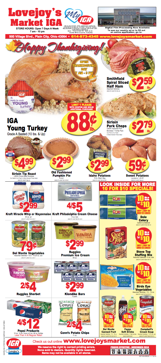 Lovejoy's Ad Nov. 17-23, page 1
