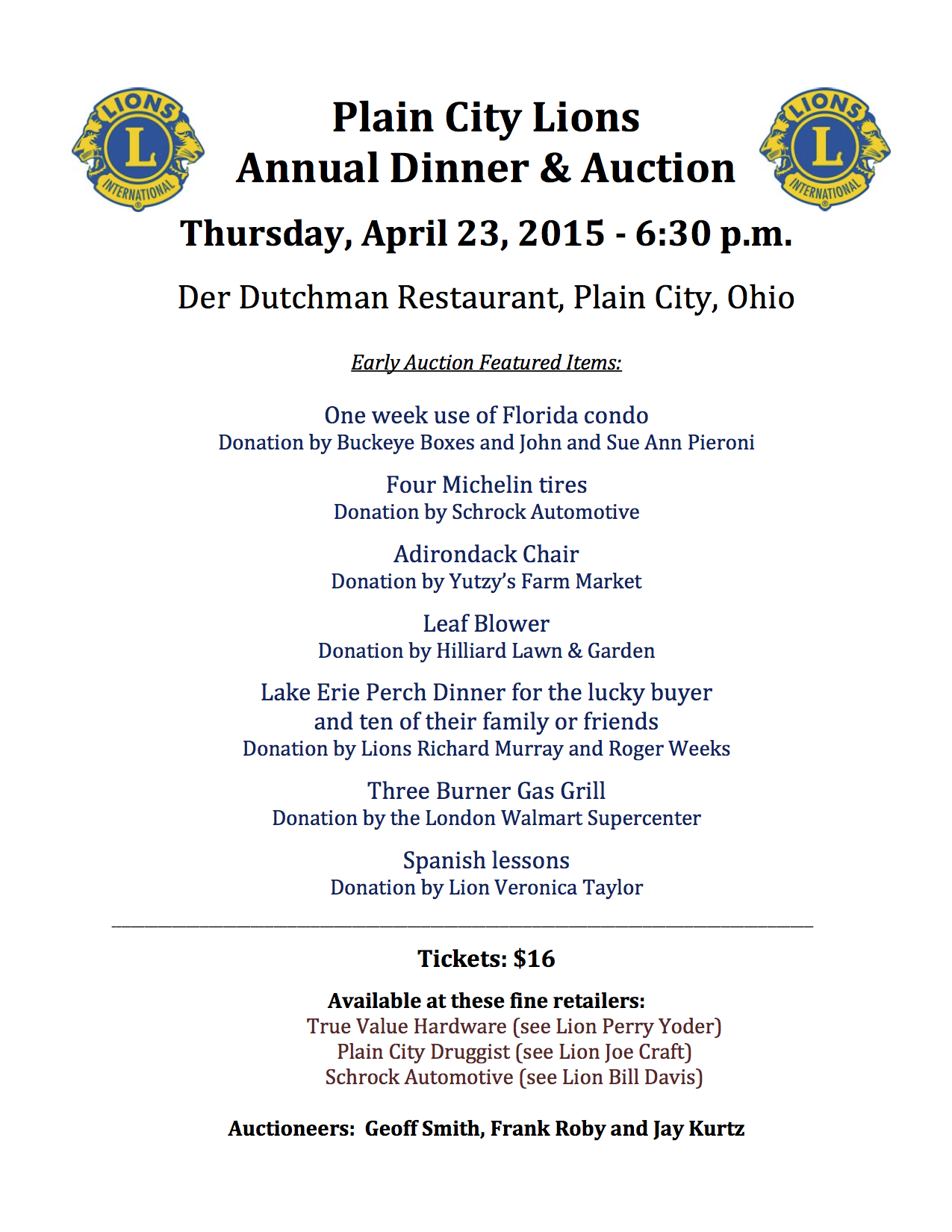 PC Lions Auction and Dinner Flier 2015 2