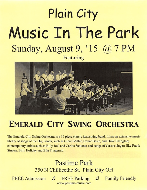 Music In The Park August 9 at 7PM
