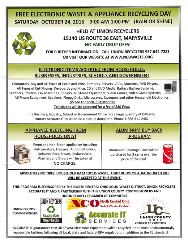 Free Electronic Waste and Appliance Recycling Day