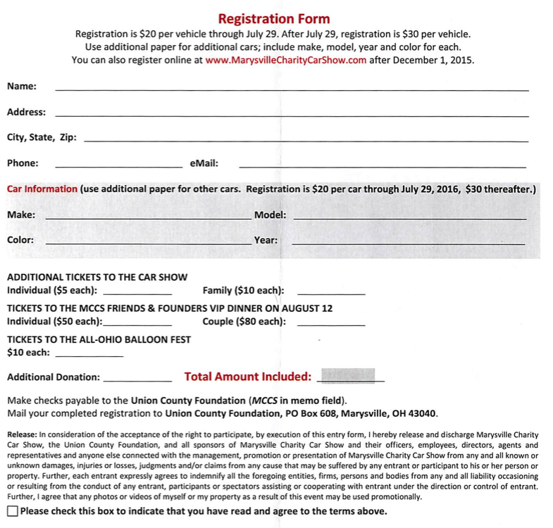 Registration Form Marysville Car show5