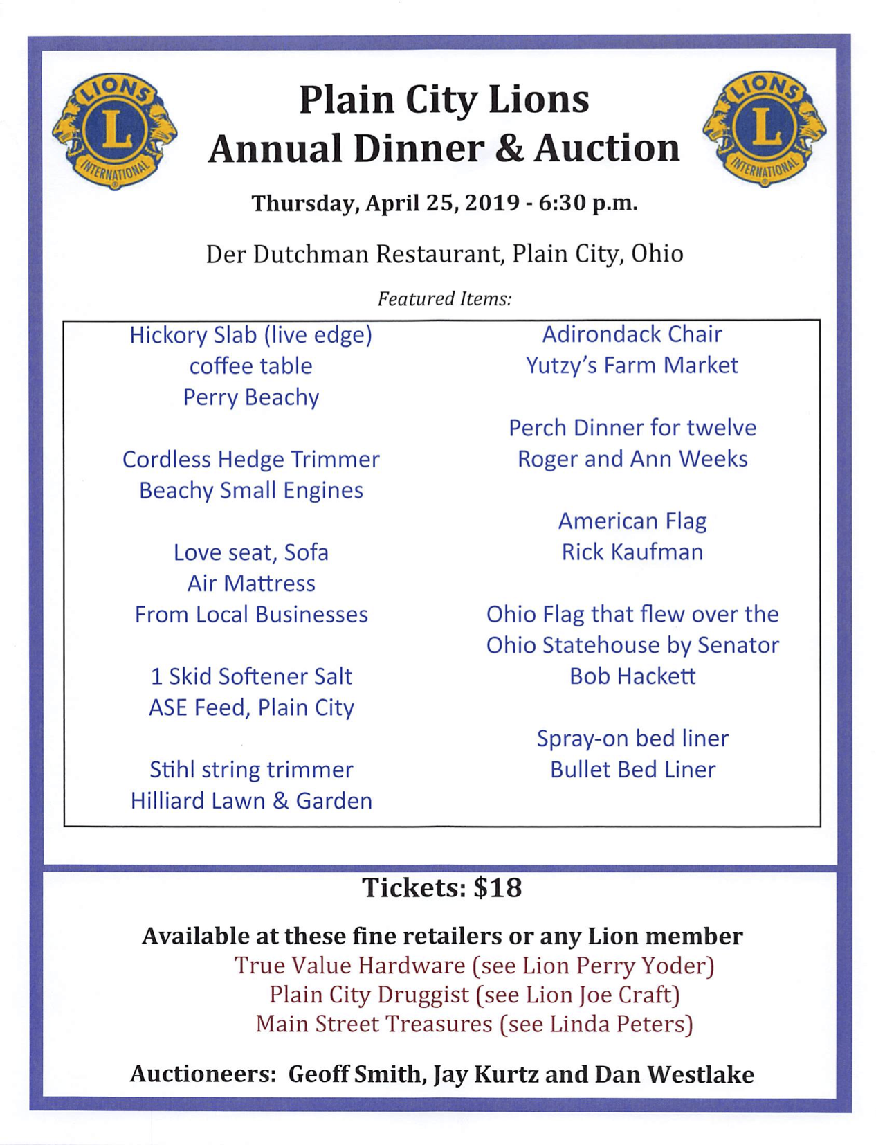 2019 Lions Dinner Auction April 25