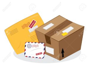 postal services: package, yellow envelope, letter envelope
